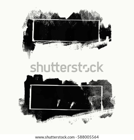 vector set of black brush