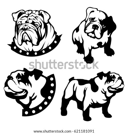 vector set of black bulldogs