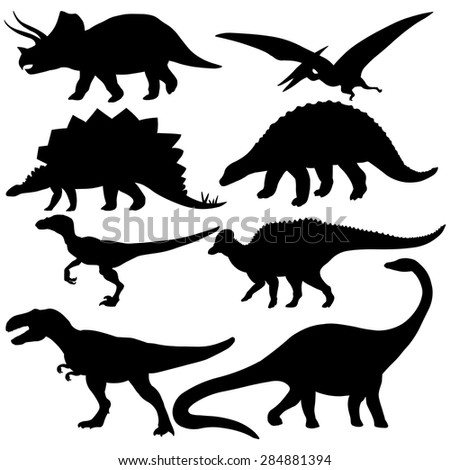 vector set of 8 black dinosaurs