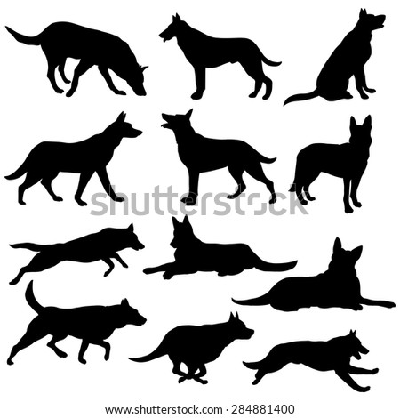 vector set of black dogs