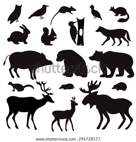 Vector Set of Black Forest Animals and Birds Silhouettes. Hand drawn vector illustration.