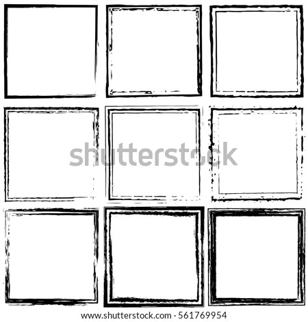 Vector set of black frames. Grunge style design