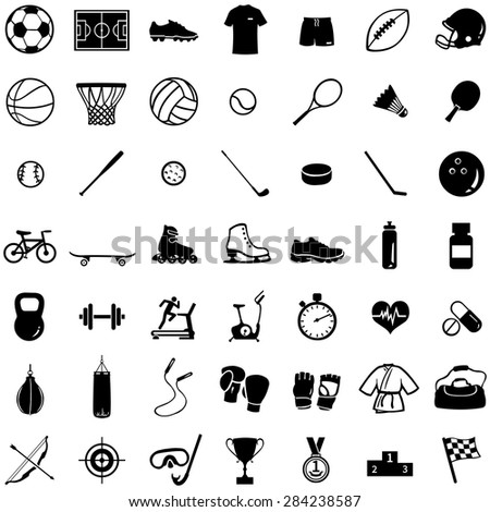 vector set of 49 black icons
