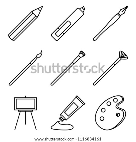 Vector Set of Black Line Art Icons. Painting and Writing Tools