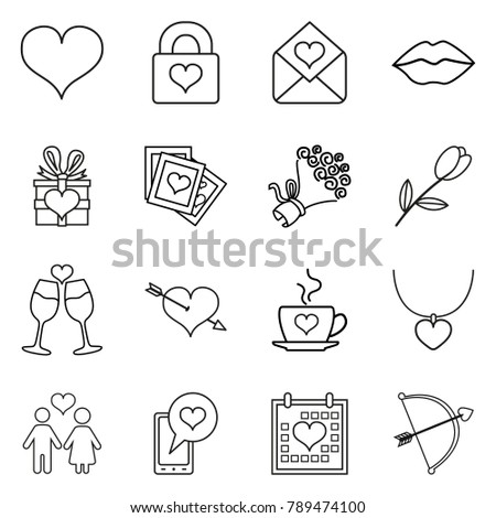 Vector Set of Black Line Love and Wedding Icons for Valentine Day