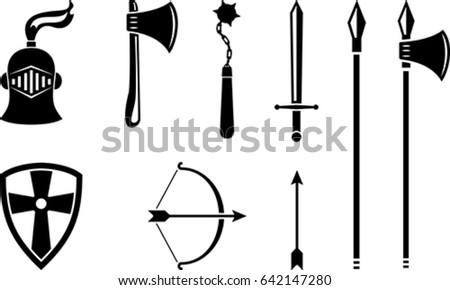 vector set of black medieval