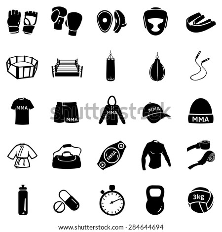 Vector Set of Black Mix Martial Arts Icons. MMA Icons.  Boxing, Kick Boxing, Thai Boxing, Wrestling, Grappling, Cross Fit. Fighting, Training and Competition.