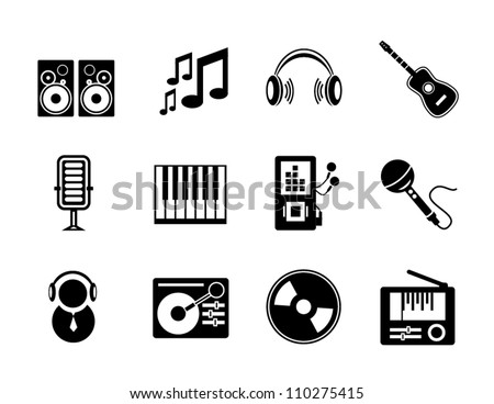 Vector set of black music icons isolated on white
