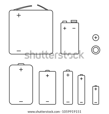 Vector Set of Black Outline Icons of Different Types Batteries