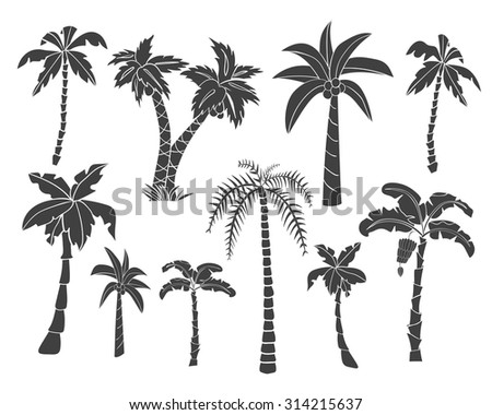 vector set of black silhouettes
