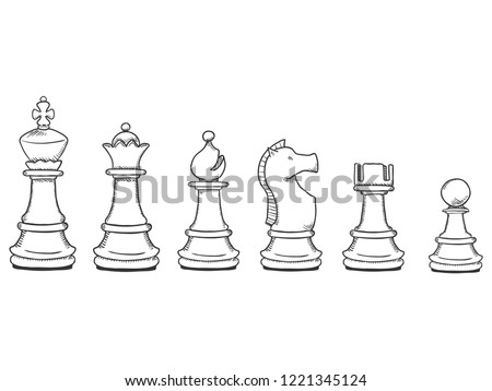 Vector Set of Black Sketch Chess Pieces. Full Chess Figures Collection.