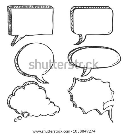 Vector Set of Black Sketch Comics Speech Bubbles. Penciling Hand Draw Comix Balloons.