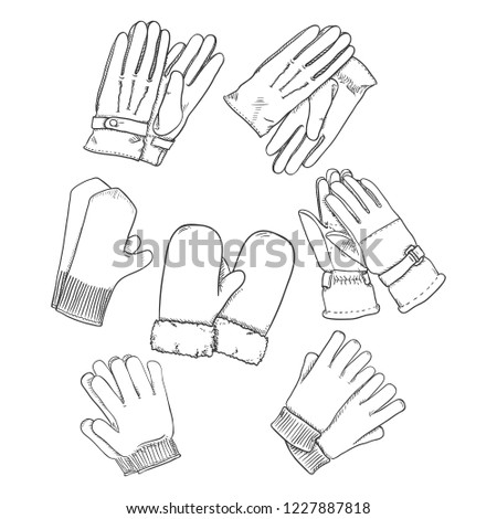 Vector Set of Black Sketch Gloves and Mittens. Collection of Accessories.