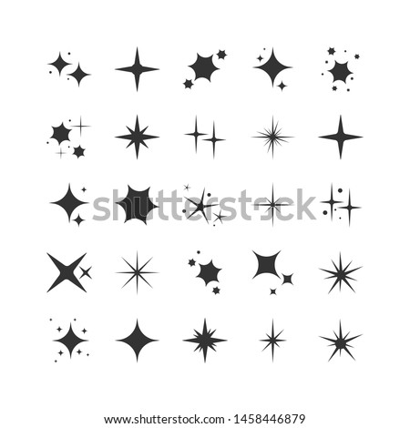 Vector set of black sparkles. Collection of star sparkles symbol. Magic particle effect icon. Star shine, Flat design. illustration.