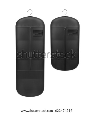 Vector set of black storage dust proof covers close up front view isolated on white background