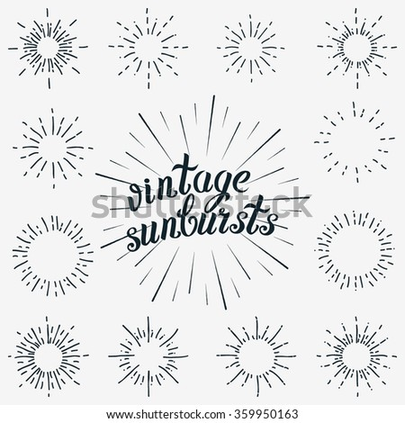Vector Set of Black Sunbursts Graphic Elements. Vintage labels Isolates on White For Invitations, Greeting Cards, Posters.