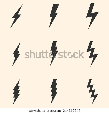 Vector Set of Black Thunder Lighting Icons