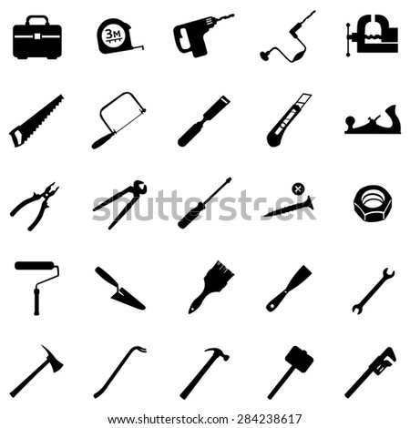 vector set of 25 black tool
