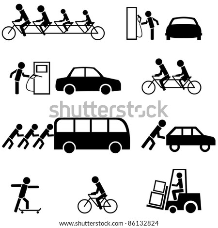 Vector set of black transportation icons.