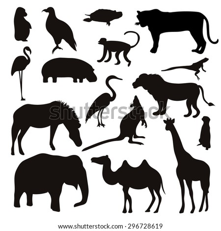 Vector Set of Black Tropical Animals and Birds Silhouettes. Hand drawn vector illustration.
