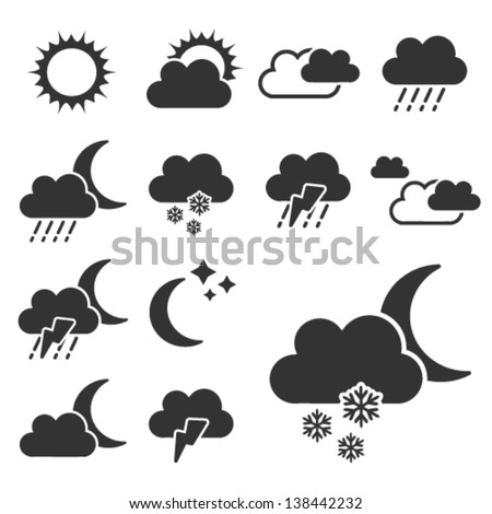 Vector set of black weather symbols - sign, icon