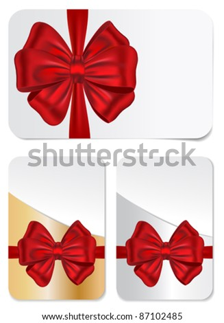 Vector set of blank gift cards with red bows for celebrations