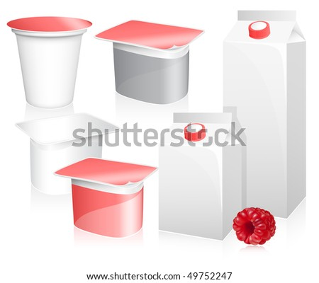 Vector set of blank milk and yoghurt packs with photo-realistic ripe raspberry.
