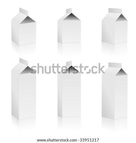 Vector set of blank milk packs isolated on white background.