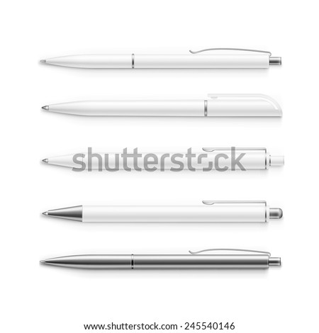 vector set of blank pens