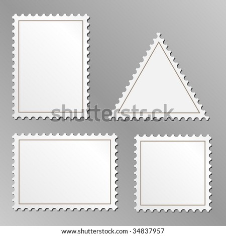 Vector set of blank postage stamps isolated on grey background.
