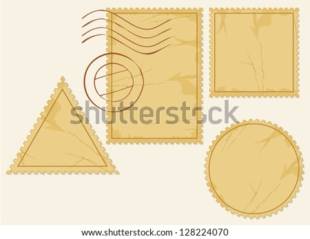 vector set of blank postage stamps (old post stamp set, postage stamp vector icons)