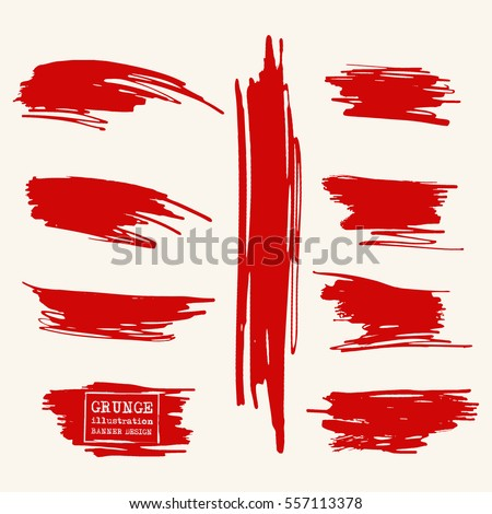 Vector set of blood red brush strokes. Grunge isolated elements. Smoke brushes for your design. Freehand. Watercolor splash. Acrylic stamp. Vector illustration.