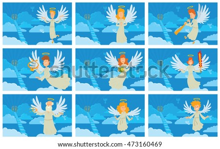 vector set of blue cards with