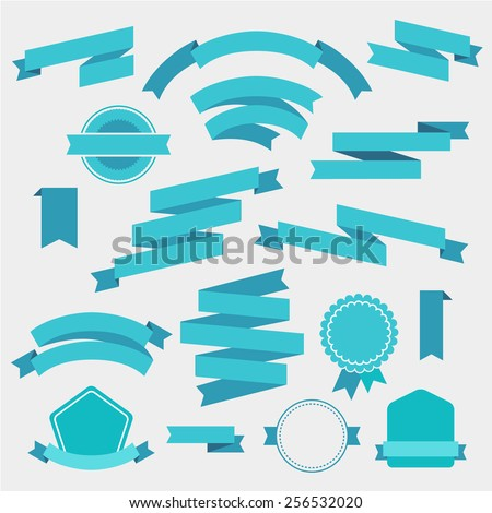 vector set of blue empty retro ribbons, banners and badges isolated