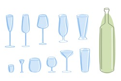 Vector set of blue glass and green bottle.