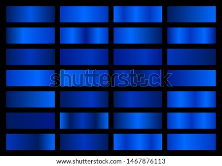 Vector set of blue metallic gradients, swatches collection, shiny gradient set on black background, metal texture