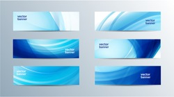 vector set of blue wavy banners, wave headers, flow, water