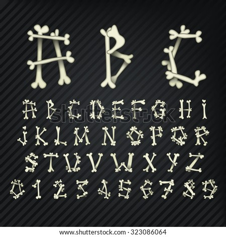 vector set of bone alphabet and