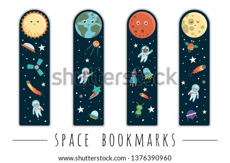 Vector set of bookmarks for children with outer space theme. Cute smiling planets, astronaut, spaceship, rocket, alien on dark blue background. Vertical layout card templates. Stationery for kids