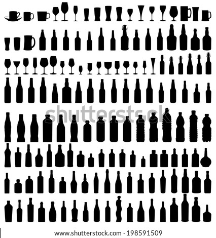 vector set of bottles and glasses