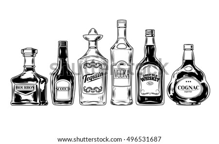 vector set of bottles for