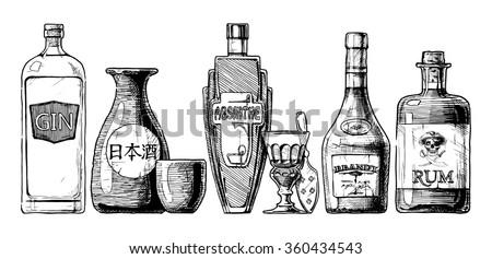 vector set of bottles of