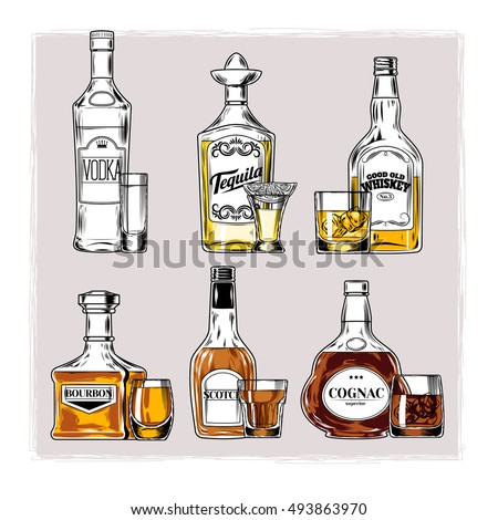 vector set of bottles with