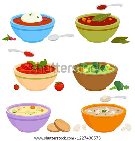 Vector set of bowls of soup with vegetables, mushrooms, chicken, Russian borscht soup, tomato and lentil soup on white background.