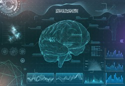 vector set of brain research interfaces. functional magnetic resonance imaging. hud in blue tones