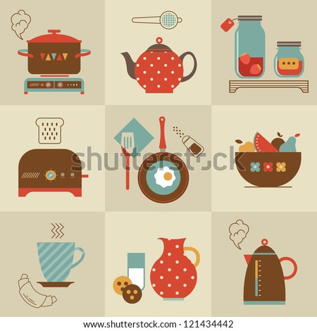 Vector Set Of Breakfast Food And Devices Icons