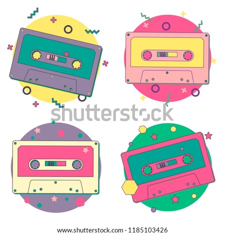 Vector set of bright cassettes. Flat style