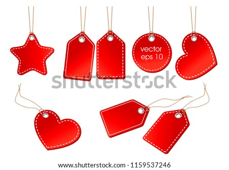 vector set of bright red price tags on a cord on a white background
