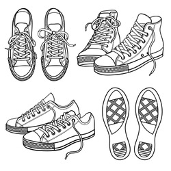 Vector set of bright sneakers isolated on white
