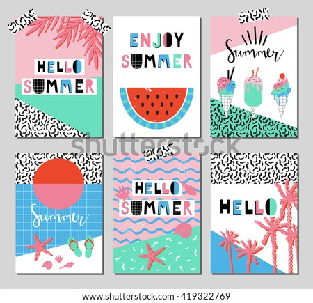 Vector set of bright summer cards. Beautiful posters with watermelon, ice cream, hello and hand written text.